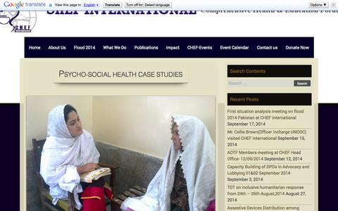 Screenshot of Case Studies Page chef.org.pk - Psycho-Social Health Case Studies | COMPREHENSIVE HEALTH AND EDUCATION FORUM INTERNATIONAL - captured Oct. 1, 2014