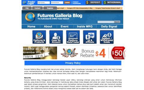 Screenshot of Privacy Page futuresgalleriablog.com - Privacy Policy | Futures Galleria Blog - captured Nov. 21, 2016