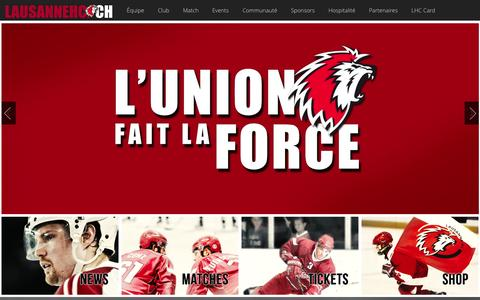 Screenshot of Home Page lausannehc.ch - Site officiel du Lausanne Hockey Club - Lausanne HC - captured Oct. 2, 2014