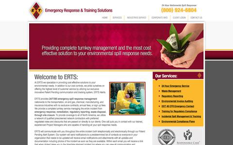 Screenshot of Home Page ertsonline.com - ERTS - EMERGENCY RESPONSE & TRAINING SOLUTIONS - Emergency response, waste management, remediation, regulatory reporting, environmental invoice auditing, DOT, OSHA, and EPA required training, incidental spill management and tracking, and prevention p - captured Aug. 1, 2017