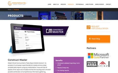Screenshot of Products Page global-infonet.com - Products - Global Infonet Inc. - captured Nov. 2, 2014