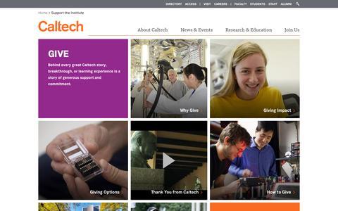 Screenshot of Support Page caltech.edu - Give | Caltech - captured Nov. 14, 2015
