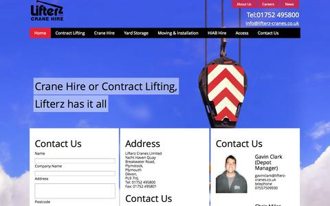 Screenshot of Contact Page lifterz-cranes.co.uk - Crane Hire |  Moving and Installation | Lifterz - captured Oct. 2, 2014