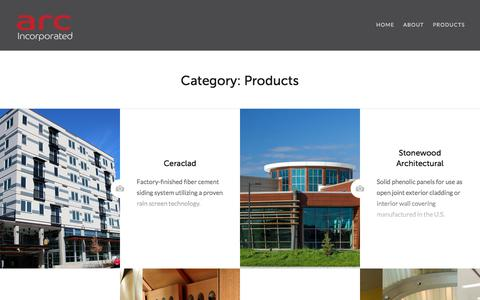 Screenshot of Products Page arcagency.com - Products – Arc Agency, Inc. - captured July 28, 2018