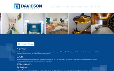 Screenshot of Privacy Page davidsonprojects.com.au - Privacy Policy | Davidson Projects - captured Nov. 3, 2014