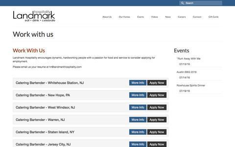 Screenshot of Jobs Page landmarkhospitality.com - Work with us - Landmark Hospitality - captured July 11, 2016