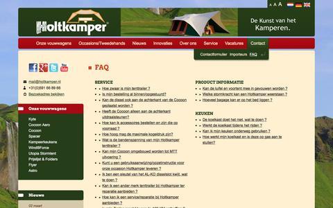 Screenshot of FAQ Page holtkamper.nl - Holtkamper vouwwagens/tenttrailers veel gestelde vragen    Holtkamper Tenttrailers - captured March 12, 2017