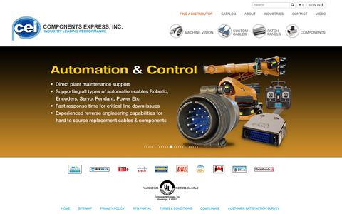Screenshot of Home Page componentsexpress.com - Components Express, Inc. Machine Vision and Industrial Cables - captured Sept. 29, 2018