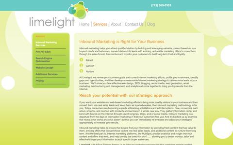 Screenshot of Services Page limelightmediagroup.com - Website Content Marketing Services | Limelight Media Group Texas - captured Nov. 9, 2016