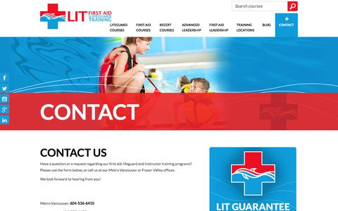 Screenshot of Contact Page firstaidtrainingcourses.ca - Contact Us | LIT First Aid and Lifeguard Training - captured Sept. 25, 2018