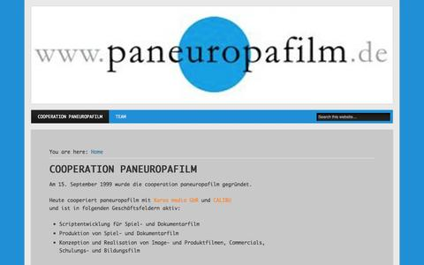 Screenshot of Home Page paneuropafilm.de - Filmproduktion und Stoffentwicklung / Paneuropafilm / Frankfurt am Main - captured Oct. 19, 2015