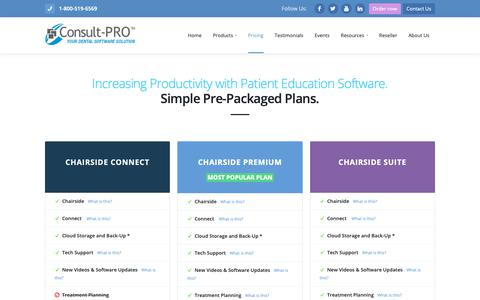 Screenshot of Pricing Page consult-pro.com - Consult-PRO Dental Software Packages - captured Sept. 29, 2018