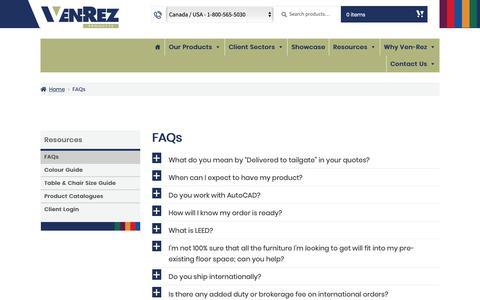 Screenshot of FAQ Page ven-rez.com - FAQs - Ven-Rez - captured Oct. 18, 2018