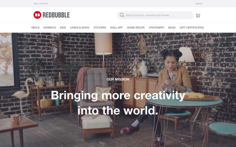 Screenshot of About Page redbubble.com - About | Redbubble | Redbubble - captured March 4, 2017