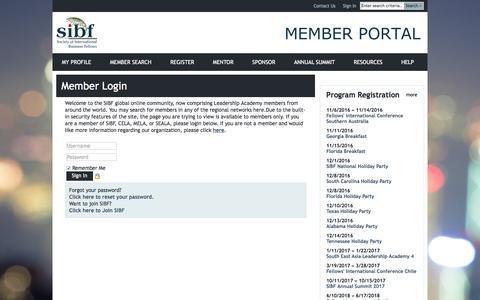Screenshot of Login Page sibf.org - SIBF - captured Nov. 8, 2016
