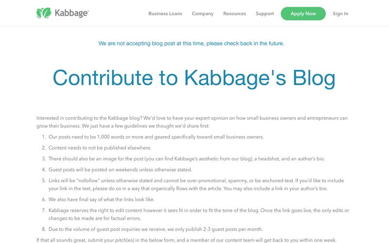 Contribution to Kabbage Blog