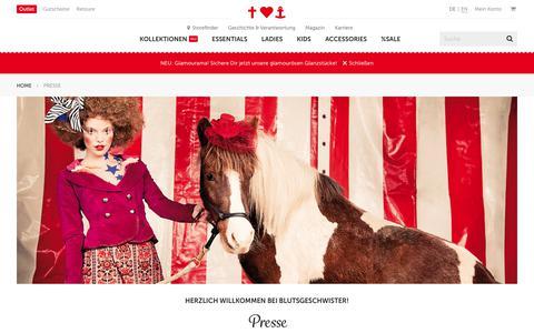 Screenshot of Press Page blutsgeschwister.de - Presse - Blutsgeschwister Fashion Online Shop - captured Oct. 21, 2018