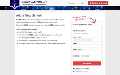 Screenshot of Signup Page bestaviation.net - Add a new school to BestAviation.net - Aviation Schools Directory - captured Feb. 7, 2016