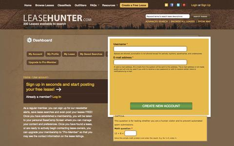 Screenshot of Signup Page leasehunter.com - User account | Hunting leases in Texas, the US and throughout the world. - captured Oct. 2, 2014