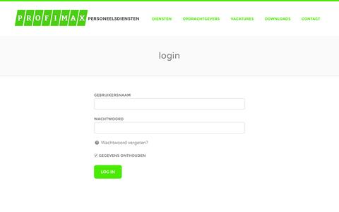 Screenshot of Login Page profimax.nl - login - Profimax - captured Feb. 1, 2016