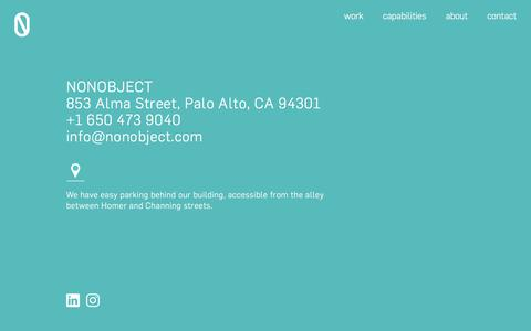 Screenshot of Contact Page nonobject.com - Getting in touch - captured June 14, 2017