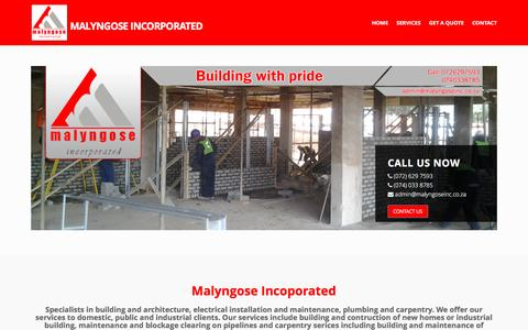 Screenshot of Home Page malyngoseinc.co.za - Malyngose Incorporated - Building and architecture, electrical, plumbing and carpentry services - captured Nov. 18, 2016