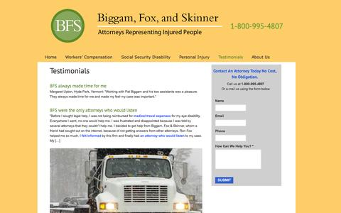 Screenshot of Testimonials Page bfslaw.com - Workers' Comp, SSDI & Personal Injury Success Stories - captured Oct. 5, 2014