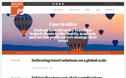 Screenshot of Case Studies Page diversitytravel.co.uk - Case Studies | Diversity Travel - captured June 4, 2017