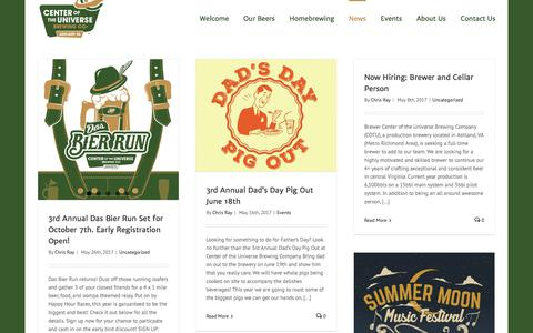 Screenshot of Press Page cotubrewing.com - Blog - Center of the Universe Brewing Company - captured July 20, 2017