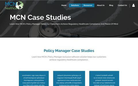 Screenshot of Case Studies Page mcnhealthcare.com - Policy Manager Case Studies - captured Jan. 20, 2018