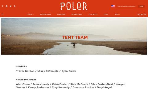 Screenshot of Team Page polerstuff.com - Tent Team | Poler Stuff - captured Jan. 29, 2016