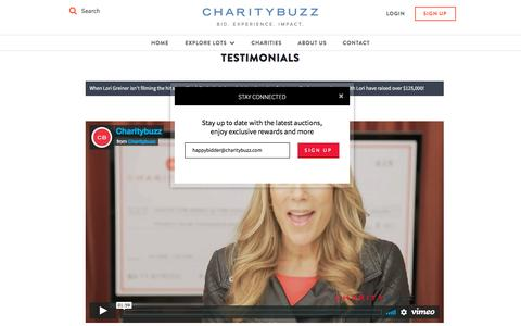 Screenshot of Testimonials Page charitybuzz.com - Charitybuzz: Customer Testimonials - captured April 4, 2018