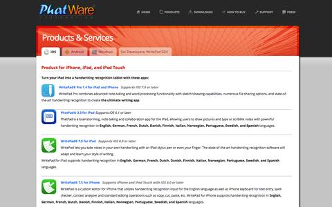 Screenshot of Products Page phatware.com - PhatWare Corp. | Handwriting Recognition Software & WritePad SDK for iPad, iPhone, Android and Windows - captured Sept. 19, 2014