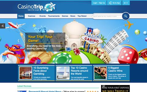 Screenshot of Home Page casinotrip.co - CasinoTrip - Your Trip! Your Game! - captured Sept. 29, 2014