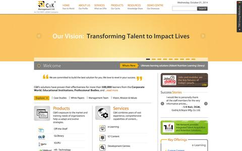Screenshot of Home Page cnkonline.com - C&K Management Ltd. - captured Oct. 1, 2014