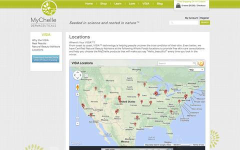 Screenshot of Locations Page mychelle.com - Locations - captured Sept. 19, 2014
