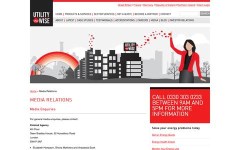 Screenshot of Press Page utilitywise.com - Utilitywise: Media Relations - captured Sept. 30, 2014