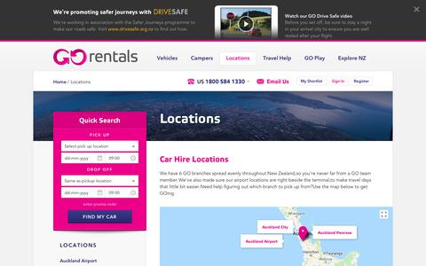 Screenshot of Locations Page gorentals.co.nz - Rental Car Locations NZ - Car Hire NZ - Go Rentals - captured June 14, 2018