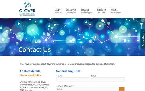 Screenshot of Contact Page clovercorp.com.au - Clover - Contact Us - captured Nov. 7, 2016