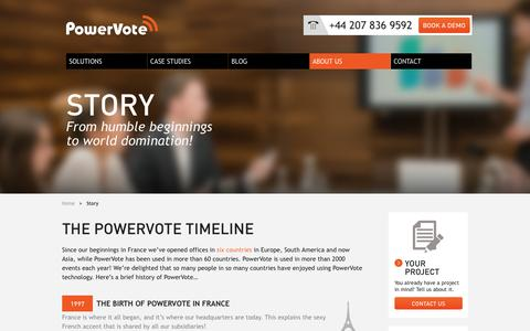 Screenshot of About Page powervote.com - Story | PowerVote - captured Oct. 10, 2014
