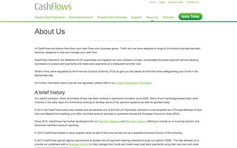 Screenshot of About Page cashflows.com - About us and our range of innovation business payment services, designed to accelerate a business' cash flow | CashFlows - captured Sept. 23, 2014