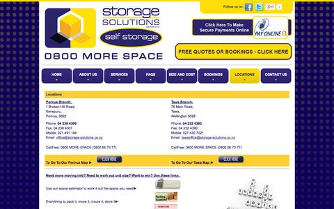 Screenshot of Locations Page storage-solutions.co.nz - Furniture Self Storage Wellington Tawa Porirua Moving Storage Solutions - captured Oct. 7, 2014