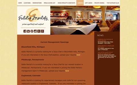 Screenshot of Jobs Page eddiemerlots.com - Current Management Openings - Eddie Merlot's - captured Oct. 2, 2014