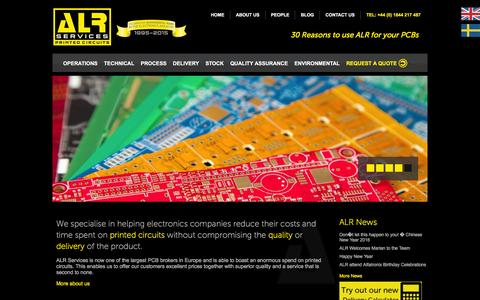 Screenshot of Home Page alrpcbs.co.uk - ALR Services Ltd | Printed Circuit Boards - captured Feb. 4, 2016