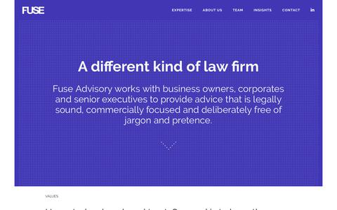 Screenshot of Home Page fuseadvisory.com - Fuse « A different kind of law firm - captured June 6, 2017