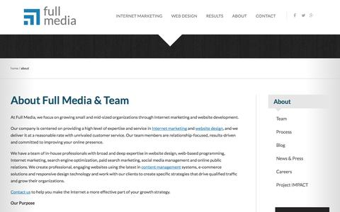 Screenshot of About Page fullmedia.com - Internet marketing and website design company | Full Media - captured Sept. 19, 2014