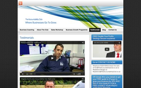 Screenshot of Testimonials Page theaccountabilityclub.co.uk - The Accountability Club - testimonials   The Accountability Club - captured Feb. 5, 2016