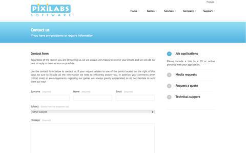 Screenshot of Contact Page pixilabs.com - Pixilabs Software -  Contact - captured Oct. 2, 2014