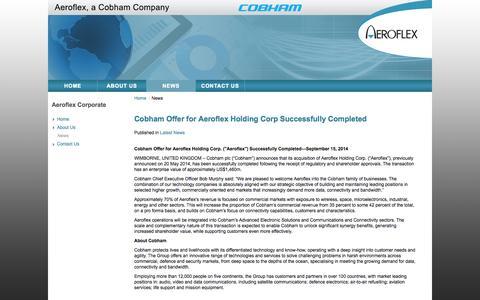 Screenshot of Press Page aeroflex.com - Cobham Offer for Aeroflex Holding Corp Successfully Completed - Aeroflex, Inc. - captured Oct. 29, 2014