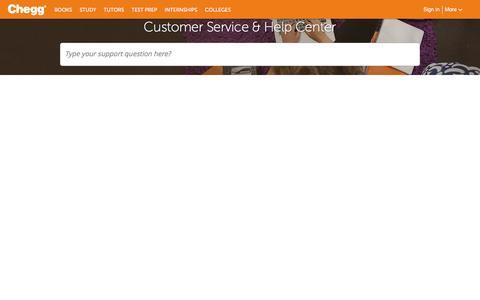 Screenshot of Contact Page chegg.com - Chegg Customer Service Phone Number & Help Center | Chegg.com - captured July 22, 2016